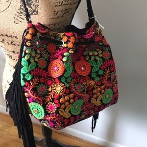 Handbags - Multi Color Suede Purse